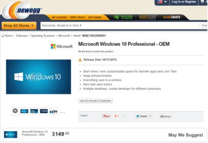 newegg windows 10 professional price