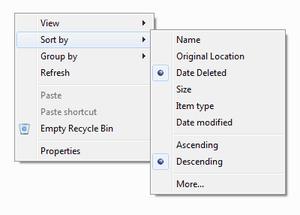 recyclebin sortby datedeleted