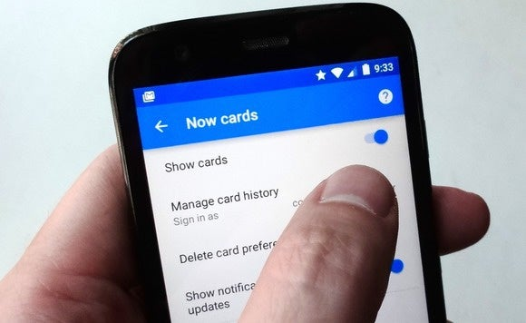 Turn off Google Now cards for Android