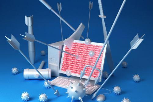 cyberattack laptop arrows war fight