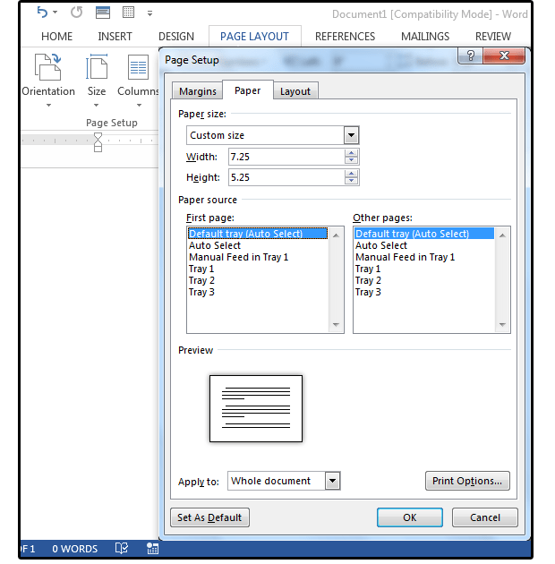 02 choose a preset paper size or create a custom size envelope