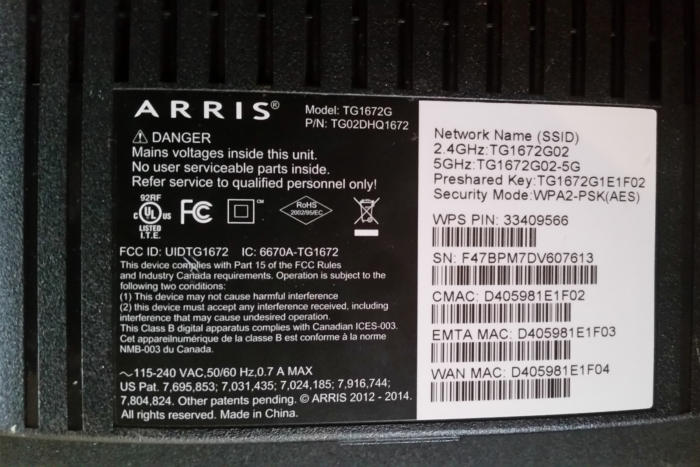 ARRIS router label