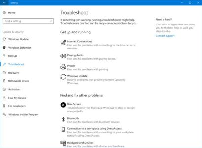 Windows 10 troubleshooters