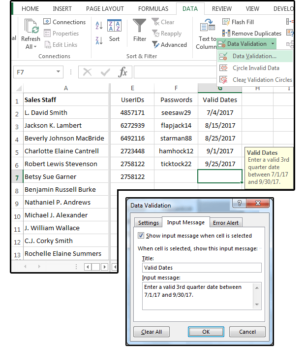 06 create a custom input message for valid dates
