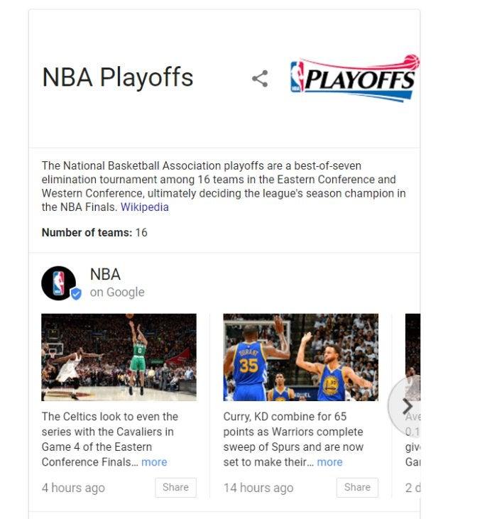 playoffs on google