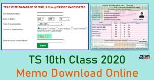 TS 10th Class 2020 Memo Download