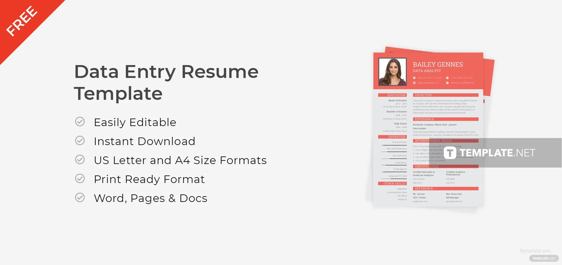 Free Data Entry Resume Template In Adobe Photoshop