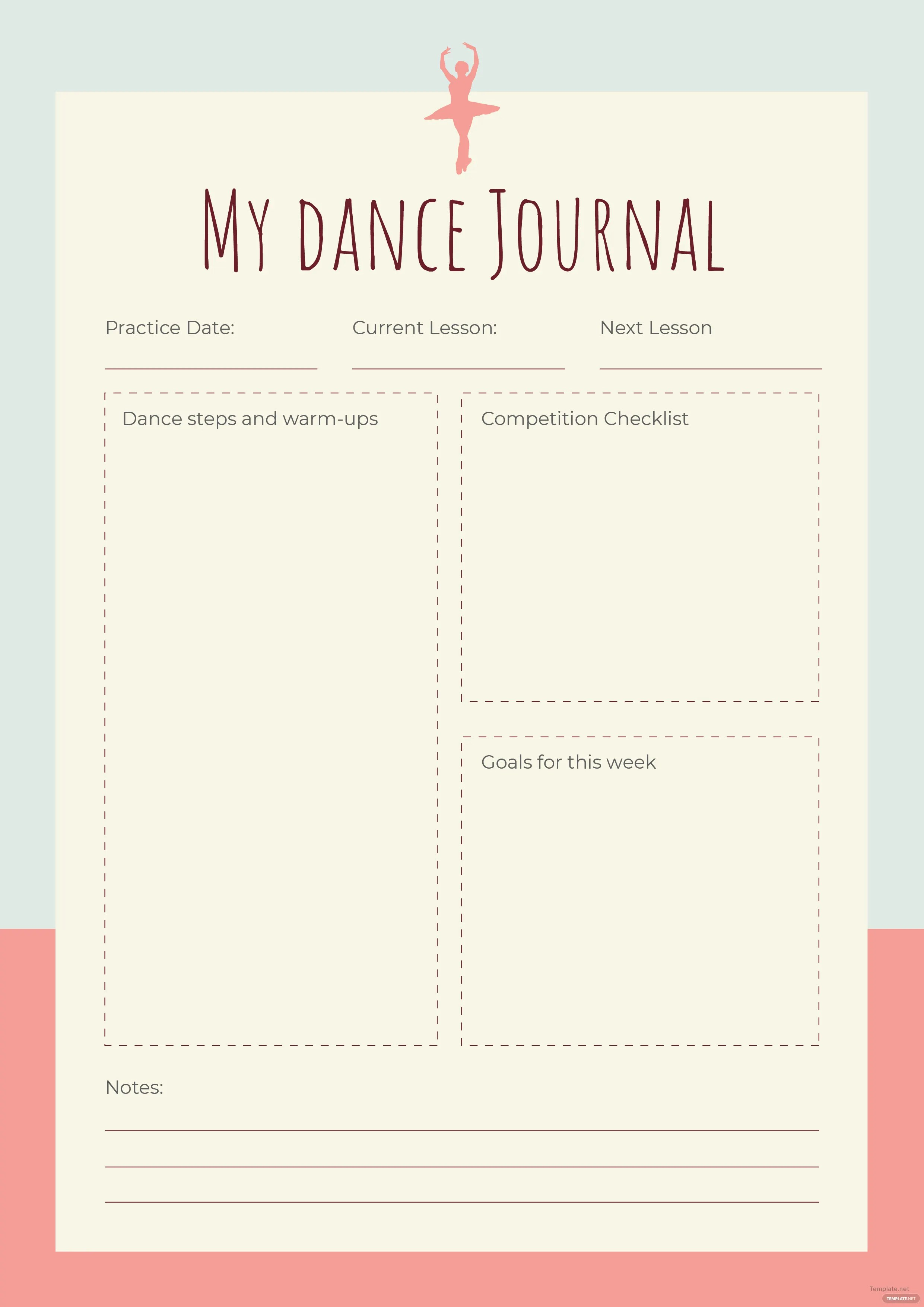 Free Dance Journal Template In Adobe Photoshop Illustrator InDesign Microsoft Word Publisher