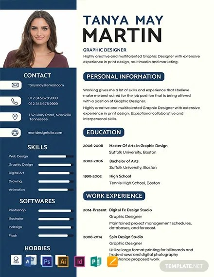 92 Free Photo Resume Templates Word Psd Indesign