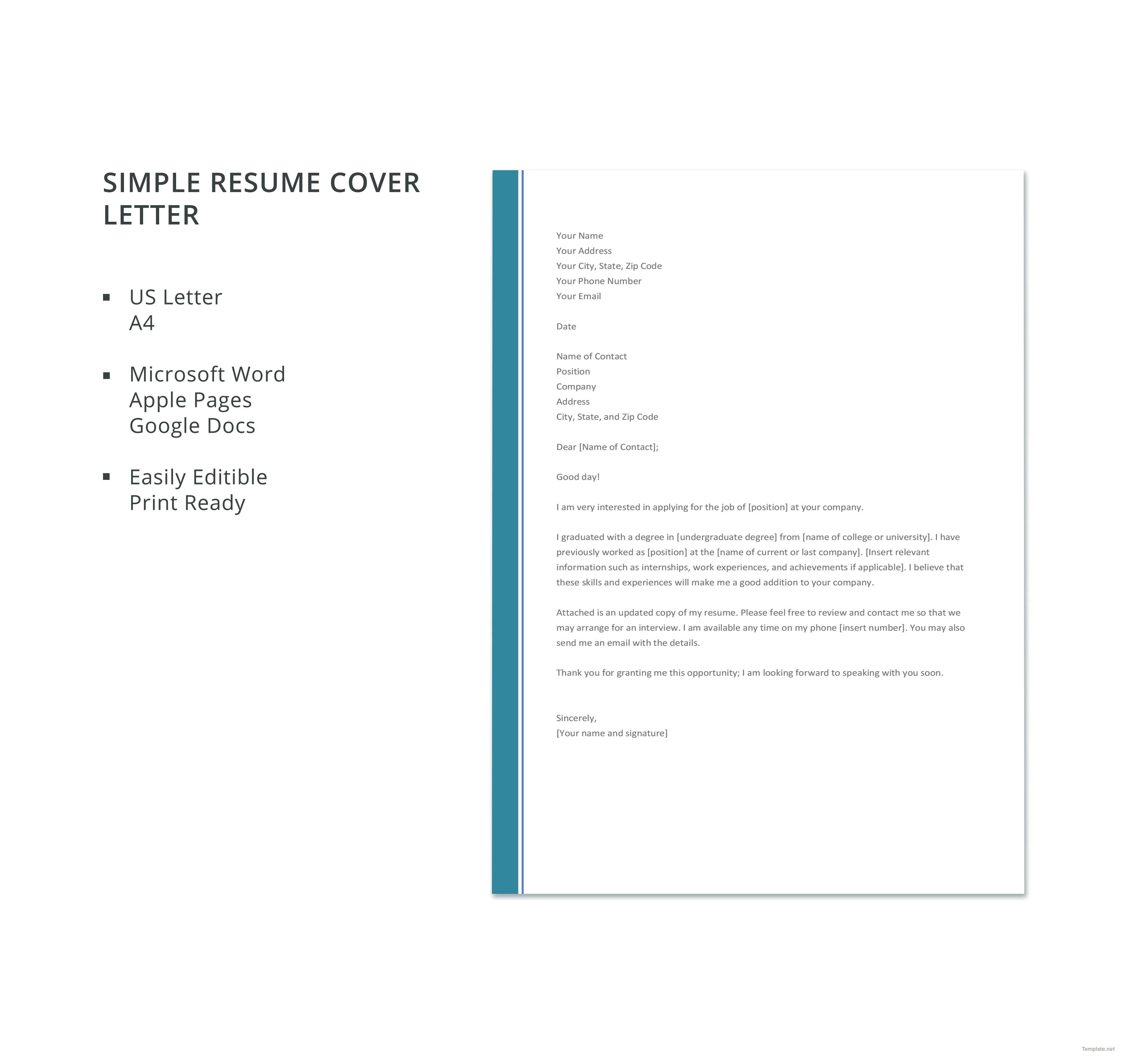 Simple Cover Letter Template Google Docs Lvelegant