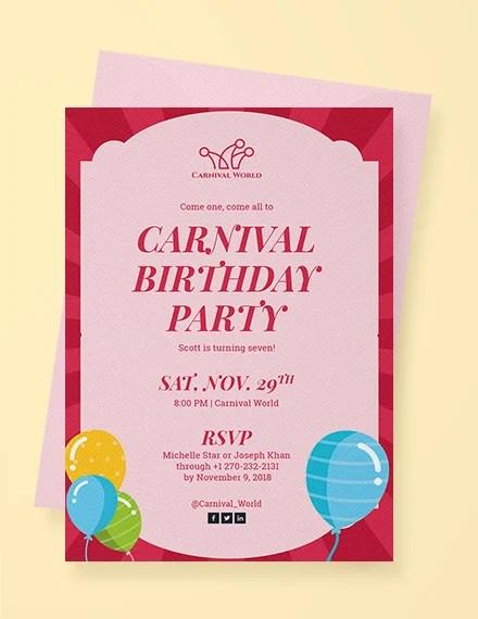 carnival birthday invitation templates