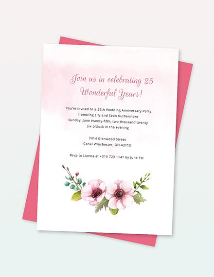 25th Wedding Anniversary Invitation Template Word Psd