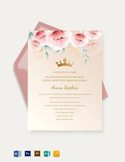 princess invitations psd
