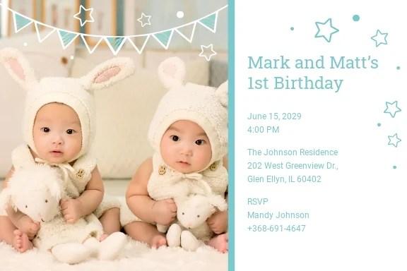 twins first birthday invitation