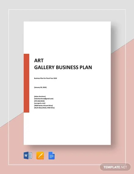 I used word to set up a sheet of a4 in landscape format with two columns sized a5 with margins which were equalised for each column. How To Make An Art Gallery Business Plan Word Docs Pdf Free Premium Templates