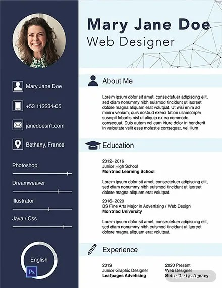 FREE Web Designer Fresher CV Template Word PSD InDesign Apple Pages Publisher
