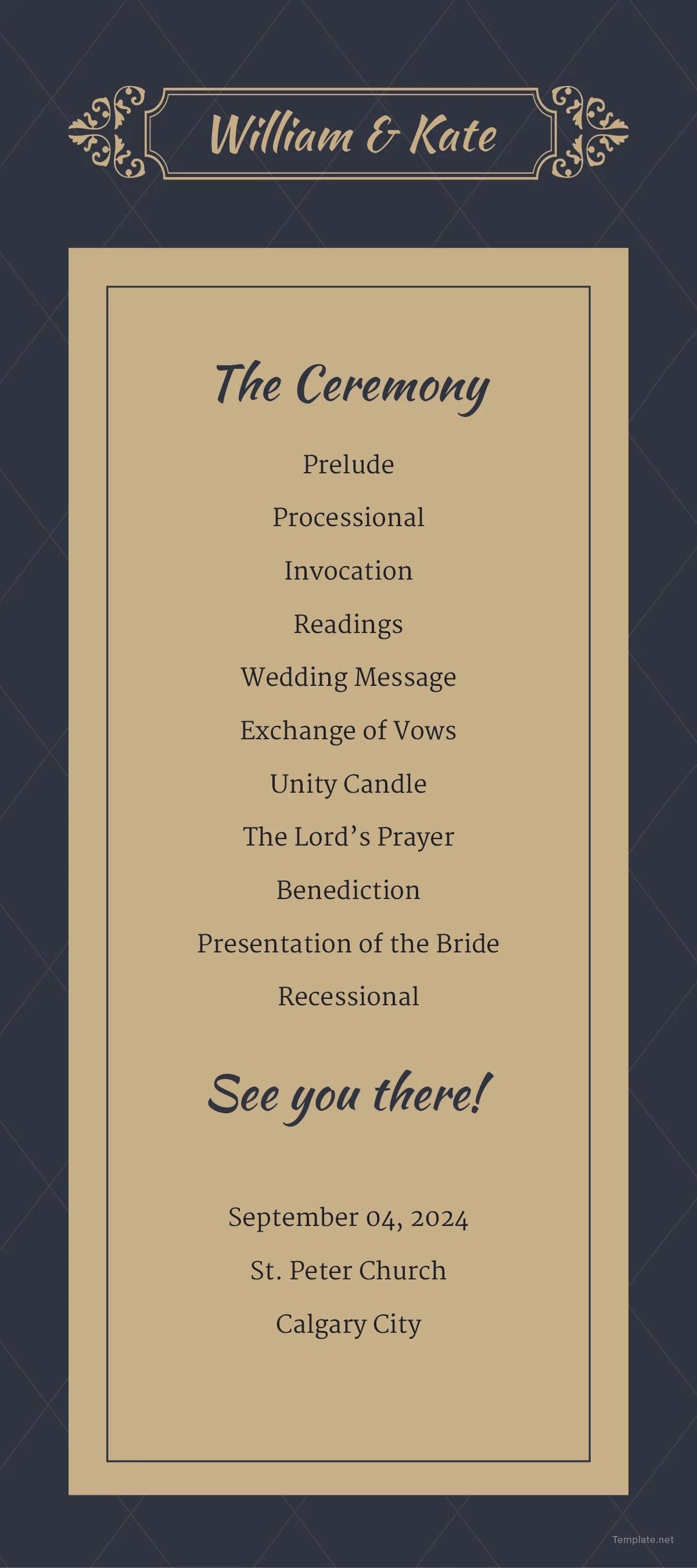 Traditional Wedding Program Template In Adobe Photoshop Illustrator Microsoft Word Publisher