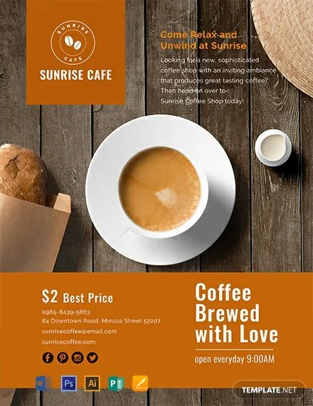 FREE Cafe Flyer Template Download 1368 Flyers In PSD Illustrator Word Publisher Apple