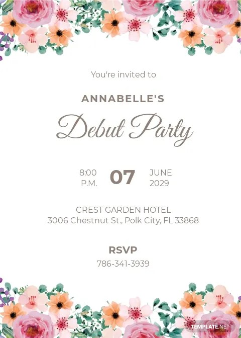 free debut invitation templates in
