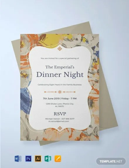 FREE Formal Dinner Invitation Template Download 820 Invitations In PSD InDesign Word