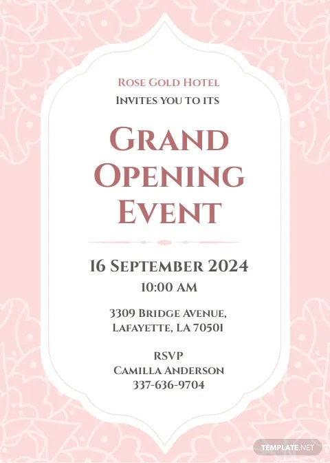 hotel opening invitation card template