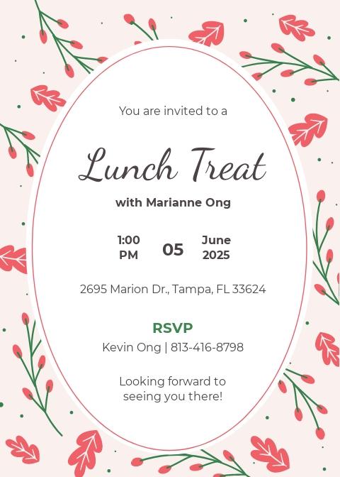 free lunch invitation templates