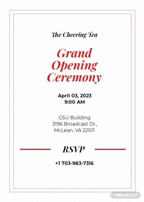 opening ceremony invitation card