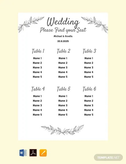 FREE Printable Wedding Seating Chart Template Download 330 Charts In Word PDF Apple Pages