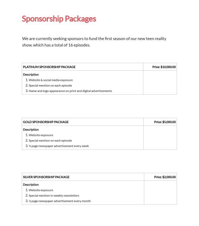 Tv Show Sponsorship Proposal Template - Google Docs, Word, Apple