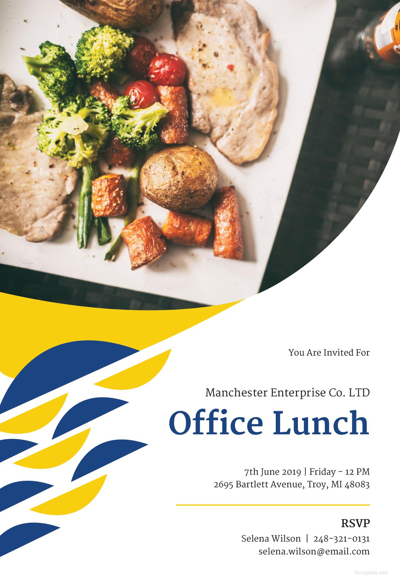 Free Office Lunch Invitation Template In Microsoft Word Microsoft Publisher Adobe Illustrator