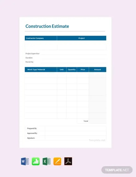 With this free construction quote pdf template, contractors and construction suppliers can give clients price estimates as secure pdfs that are easy to download, print, share, and access on any device. Printable Estimate Sheets Cerel