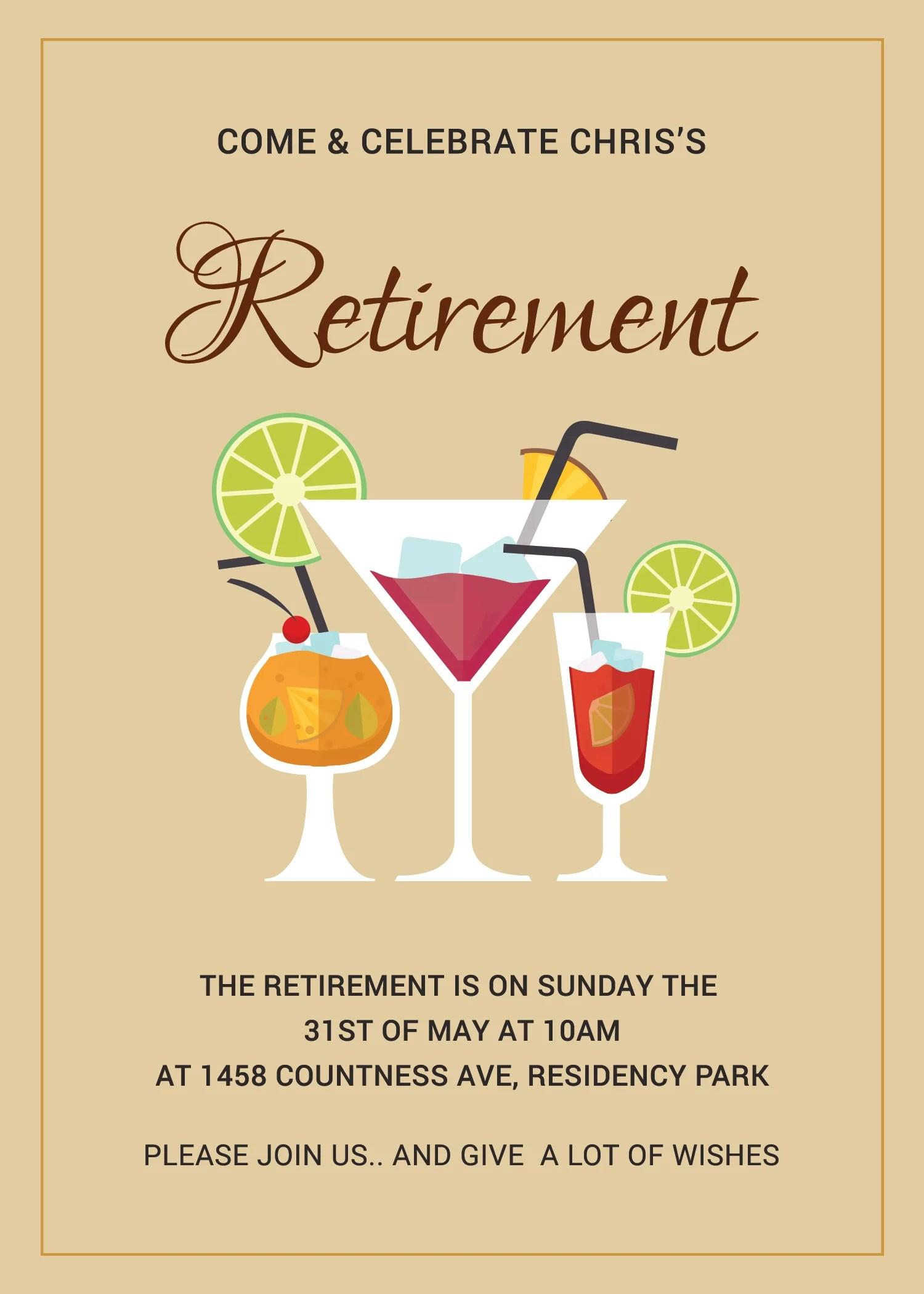 Printable Retirement Party Invitation Template In Adobe Photoshop Illustrator