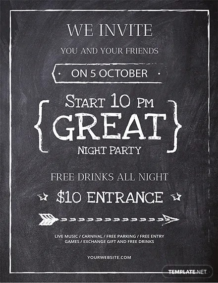 Free Chalkboard Flyer Template Download 416 Flyers In Illustrator PSD Word Publisher Pages