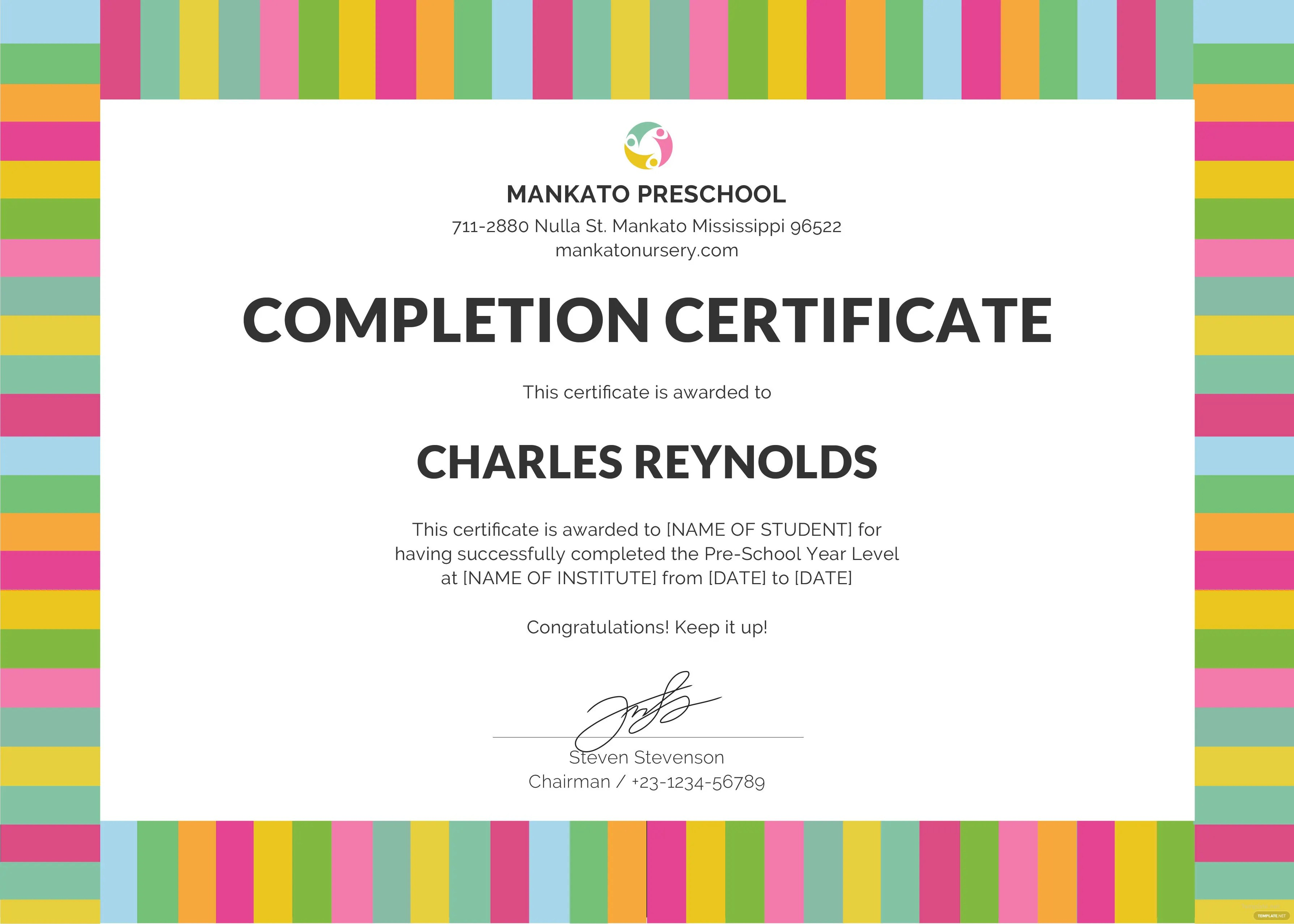 Free Preschool Completion Certificates