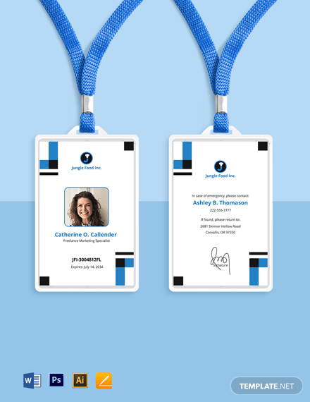 Some businesses require staff or visitors to carry id cards for security purposes. Freelance Employee Id Card Template Illustrator Word Apple Pages Psd Template Net