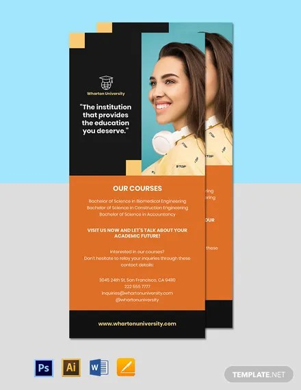 free university rack card template