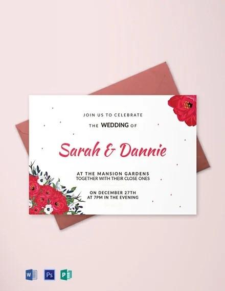 Free Sample Wedding Invitation Card Template Word Psd