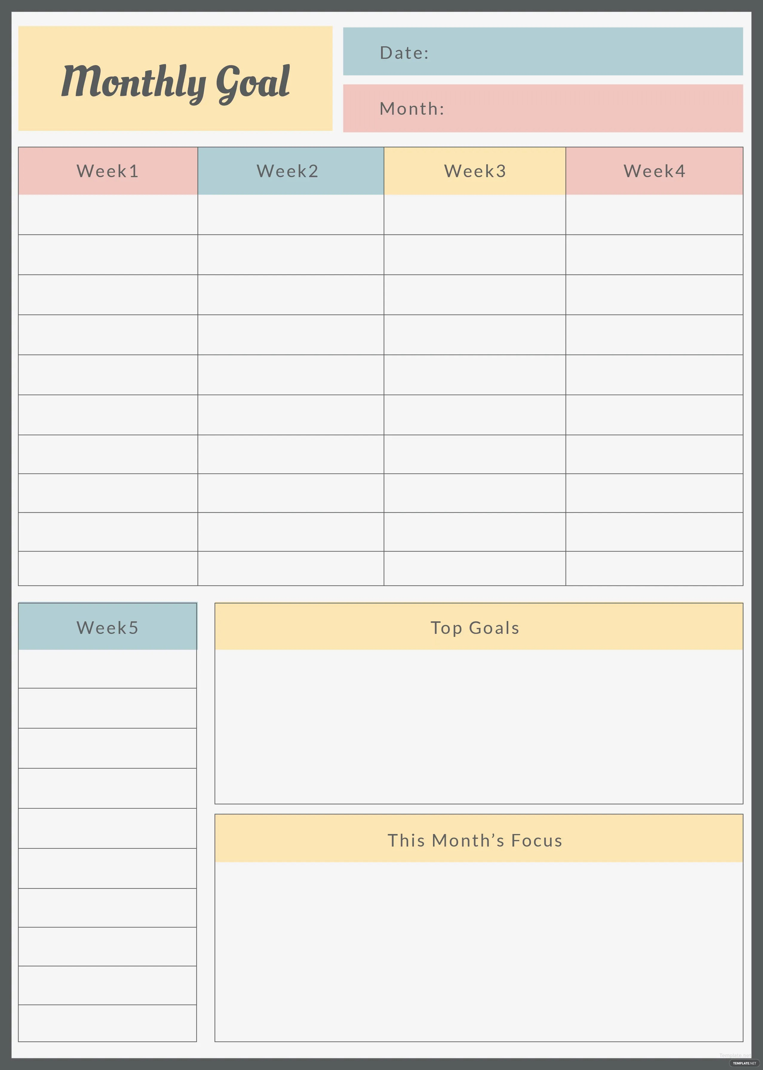 Free Monthly Goal Planner Template In Adobe Photoshop Adobe Illustrator Adobe Indesign