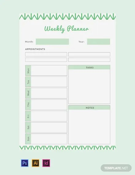 FREE Weekly Planner Template Word Excel PSD InDesign Apple Pages Apple Numbers