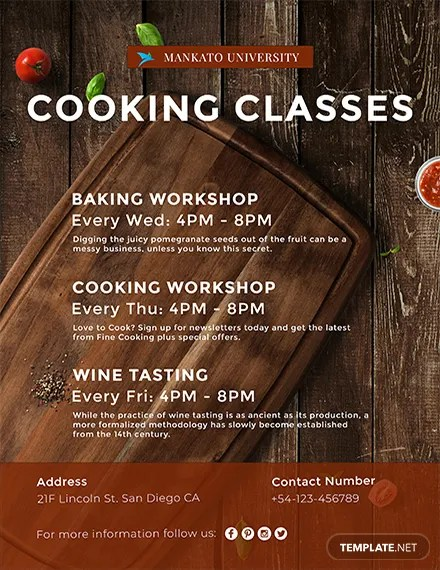 FREE Cooking Classes Flyer Template Download 763 Flyers In PSD Illustrator Word Publisher