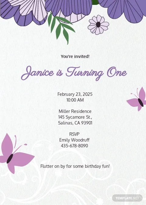 butterfly invitation template free pdf