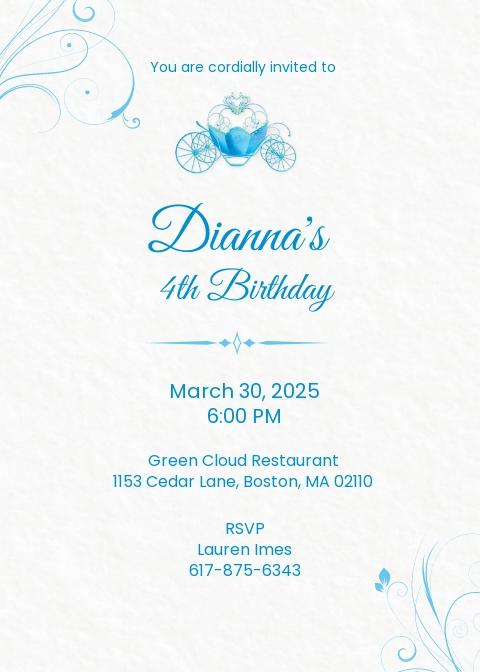 cinderella invitation template free