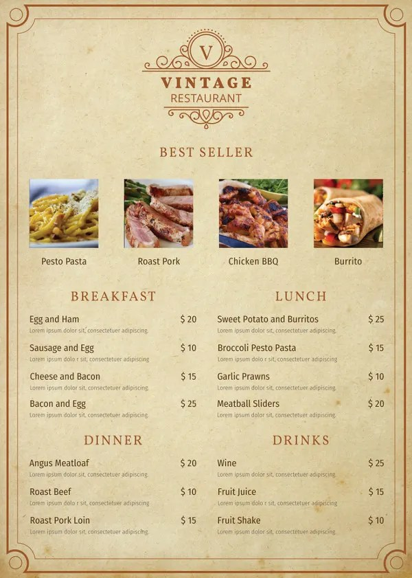 Indian Restaurant Menu Card Template