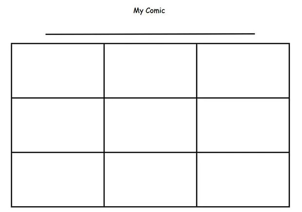 Cartoon comic strip template for Four panel comic strip template