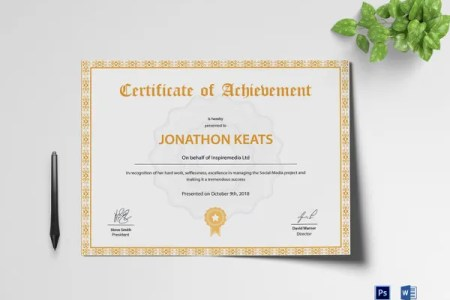 58  Printable Certificate Templates   Free PSD  AI  Vector  EPS     Achievement Certificate Design Template