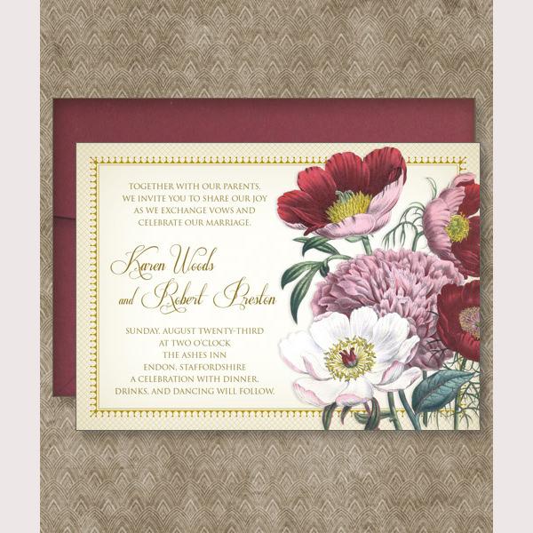 Red Poppy Wedding Invitation Set