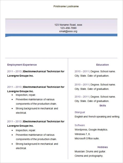 Blank Fill in Resume Templates for Freshers