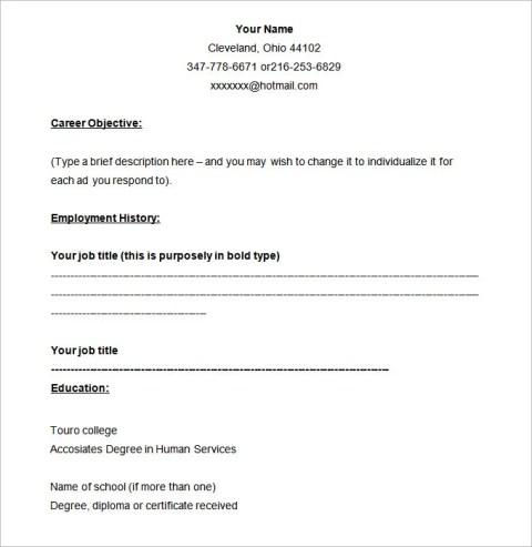 Example Blank Resume Templates