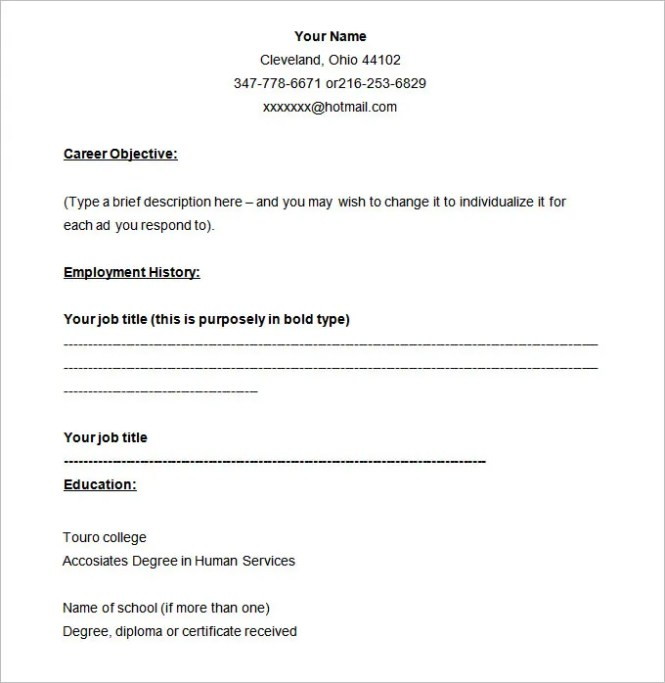 40 blank resume templates free samples examples format - Blank Resume Formats