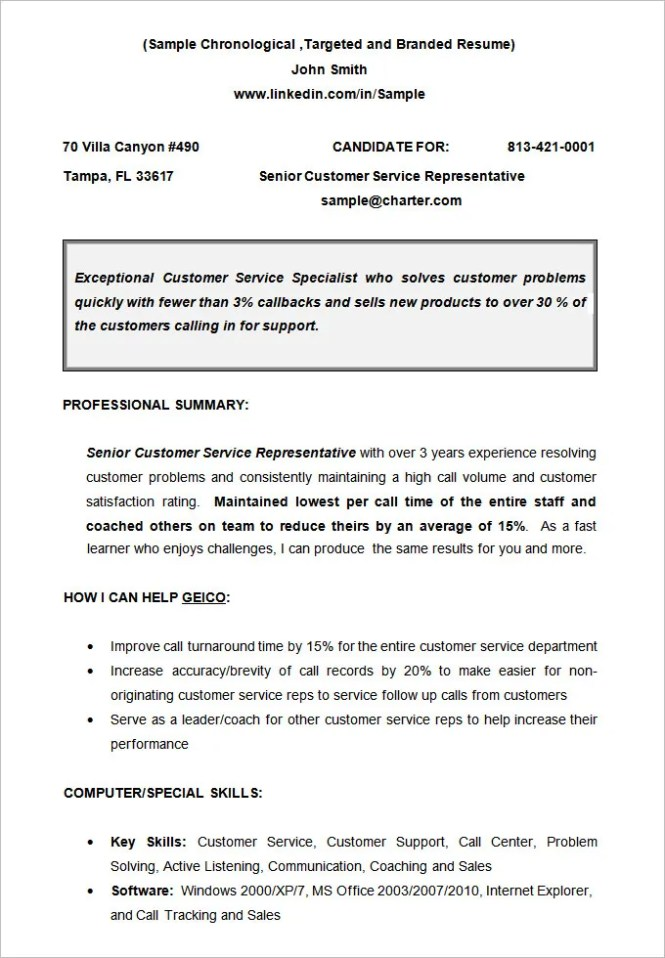 resume format chronological template
